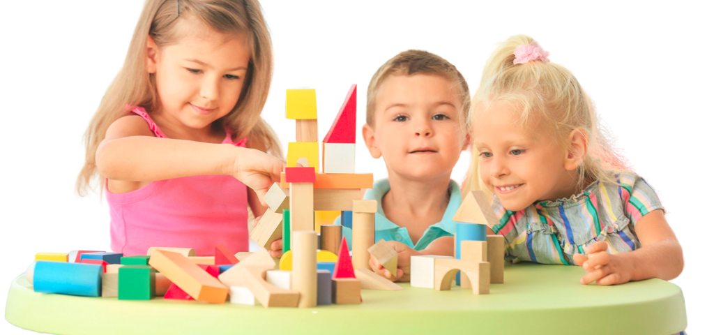 Kids playing educational building blocks, making a castle at a Preschool & Daycare Serving Frisco, TX